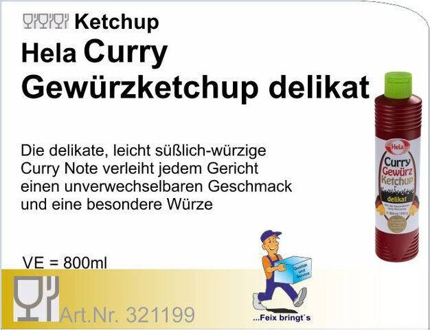321199 - Tomatenketchup Curry delikat 800ml Hela